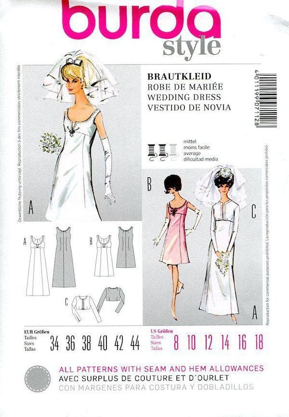 Free Us Ship Burda 7112 Vintage Retro 1960s 60s Reproduction Wedding ...