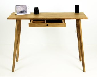 Handcrafted,solid oak console, table,desk,mid-century,modern