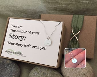 Suicide Awareness Necklace - TINY Silver Jewelry Mental Illness Support - You are the author of your story - Teachers gift - Punctuation