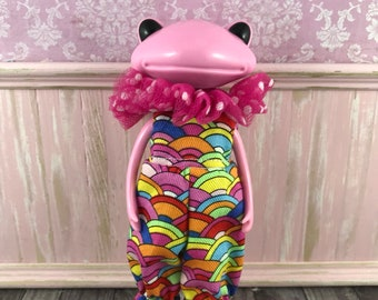 Wonder Wanda Frog Jumpsuit with removable collar - Abstract Rainbows