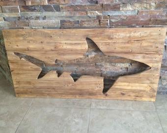 Distressed Wooden Shark Pallet Wall Art Wood Surf Decor