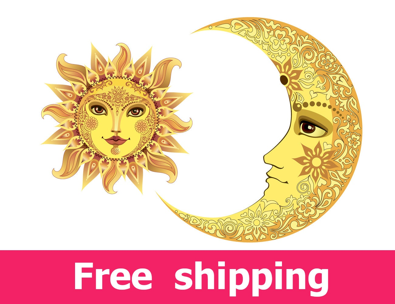abstract sun wall decal colorful moon wall sticker yellow