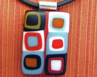 Red Square Glass Pendant, Handmade Fused Glass Jewelry