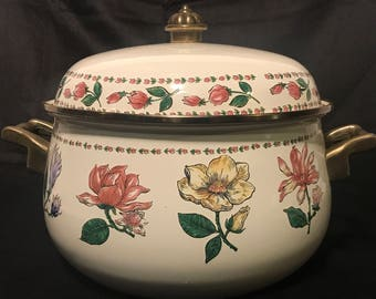 Vintage Enamel Ware Roasting Pan with Lid by Tabletops Unlimited Botanical Gardens Pattern Casserole Pan Soup Tureen