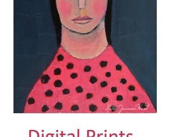 Girl and Bird Portrait Art Painting Print. Figure Painting. Chickadee Bird Art Digital Print. Whimsical Wall Decor. 7