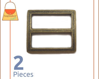"1 Inch Center Bar Slide Purse Strap Slider Buckle, Antique Brass / Bronze Finish, 2 Pack, 1"", Handbag Bag Hardware Supplies, BKS-AA054"