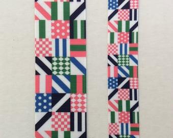 "Preppy plaid pink navy grosgrain ribbon 7/8"" 1.5"""