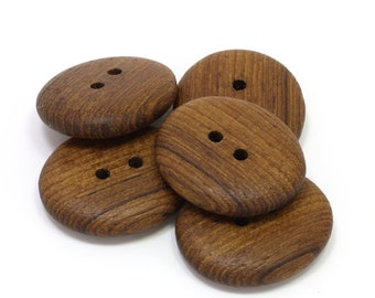 Wooden buttons. Set of 5 handmade 1.3 inch buttons. Natural wood buttons. Teak wood buttons T6243