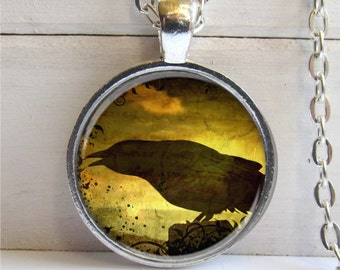 Crow Art Pendant, Altered Art Raven Pendant, Crow Necklace, Silver and Glass