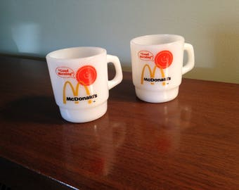 Set of two Vintage Anchor Hocking fire king McDonald's coffee mugs