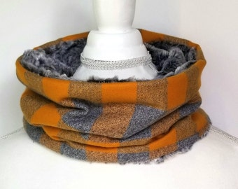 Yellow and Gray Buffalo Plaid Cowl - Womens Scarf - Winter Cowl - Plaid Scarf - Faux Fur Cowl - Single Loop Scarf - Stitched With Joy Coy