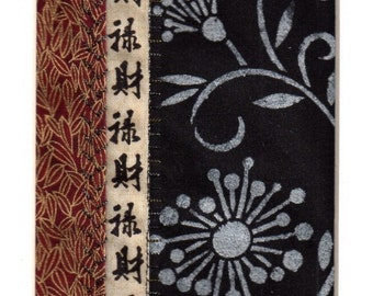 Mini Textile Art Collage Asian Style Pearlescent Flower Blossom  MADE TO ORDER fits 10x8 frame