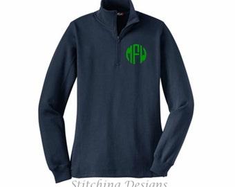 Monogram half zip Pullover, Monogram Sweatshirt, 1/4 Zip sweatshirt, monogram pullover -LADIES Fit - Sizes XS to 4X, 9 Colors