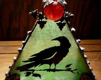 Raven Heavy Gothic Votive Stained Glass Candle Holder