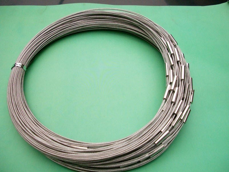 5pcs 20 inch 1mm silver stainless steel necklace cords/wires with ...