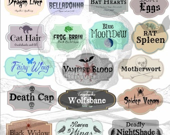 Set of 17 Potion Bottle Lables, Halloween, Witch, Wizard, Harry Potter Digital Downlaod PDF