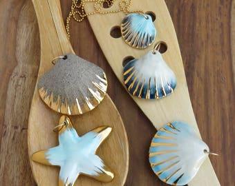 porcelain jewelry, beach necklace, mermaid necklace, nautical vintage, shell necklaces, pendant necklace, ocean necklace, nautical necklace