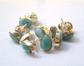 ON SALE Larimar Jewelry Turquoise Blue Larimar post earrings Teardrop shape Unisex studs Fall fashion jewelry set in Sterling silver 925 Gif
