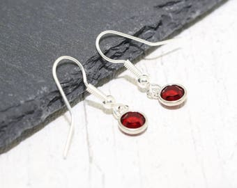 January Birthstone Earrings, Crystal Birthstone, Garnet Crystal Earrings, Garnet Earrings, January Earrings, January Birthday, Gift for Her