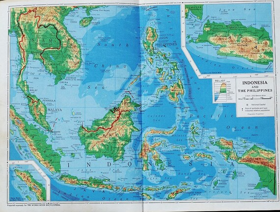 Vintage indonesia map vintage map of the philippines 1940s vintage indonesia map vintage map of the philippines 1940s southeast asia relief map perfect for wall decor or collage from tanithsoddsandends on etsy gumiabroncs Choice Image