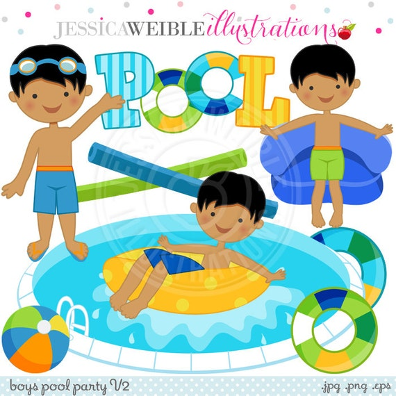 Boys pool party v2 cute digital clip art commercial use ok for Free clipart swimming pool party