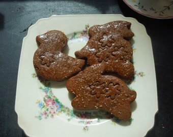Bunnies-Duckling Cocoa Gingerbread Cookies-1 doz Fun Spring cookie shapes,Gift Giving
