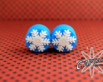 "Christmas snowflake plugs for gauged ears 18mm 11/16""  stretched white snow winter"
