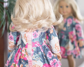 """Dolly Helena. PDF Sewing Pattern for 14"""", 15"""", & 18"""" American Girl Doll, Wellie Wisher, Bitty Baby equivalent."""
