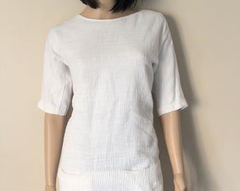 Dress Gérard Darel T 38 white embossed cotton tunic as new Retro