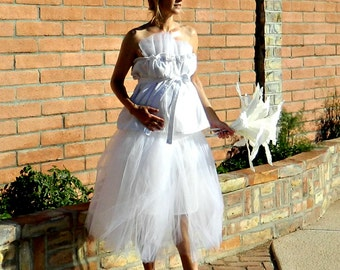 Tulle Skirt-Tulle Wedding Skirt-Tulle Wedding Dress-Long Tulle Skirt-Maternity-Tina Tissue Linen Layered Tulle Pregnant Bride Chic