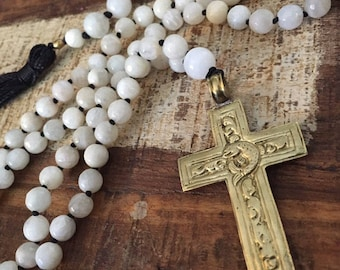 Tibetan cross mala with moonstone