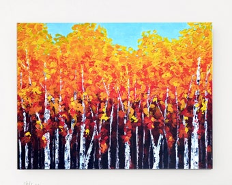 Birch Painting, Abstract Landscape, Fall Painting, Textured painting, Forest painting, Modern wall art, Birch tree painting, Autumn decor