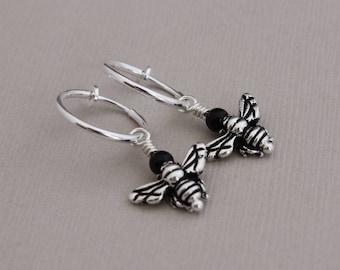 Clip hoop earrings with Antique Silver honeybee beads and Black Onyx