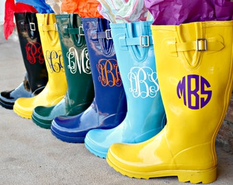 Free Shipping-Monogrammed Rain Boots SELECT COLORS & SIZES Sorority Bridesmaid Graduation Gifts