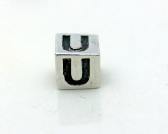 Sterling Silver Alphabet U Block Cube Square Bead 4mm