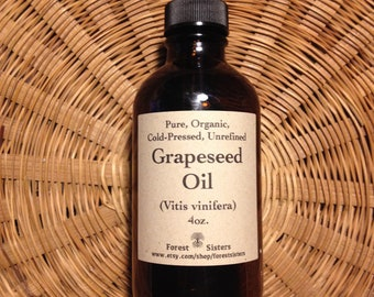 Pure Organic Cold-Pressed Unrefined Grapeseed Oil (acne prone skin, oily skin, dry hair, personal lubricant, massage oil, Vitis vinifera)