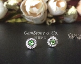 3mm round green tsavorite 925 Sterling Silver Earstuds CZ Halo  Nice and Sparkling accessories for Women