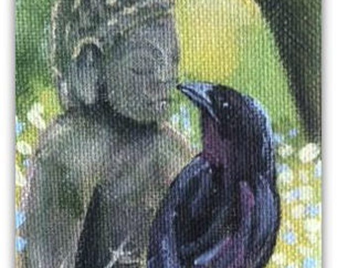 SALE Mini original Buddha and raven painting
