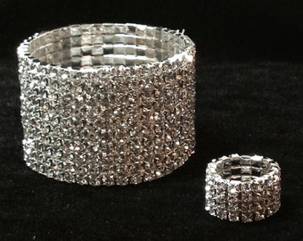Crystal/Silver Bracelet and Ring Set - Bikini, Figure competition