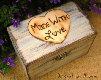 Rustic Recipe Box Painted and Distressed in the COLOR of YOUR CHOICE Holds 4 x 6 Cards, Mothers Day Gift
