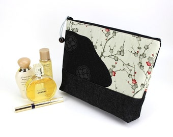 zippered pouch, cosmetics pouch, cotton pouch, travel pouch, large cosmetic pouch, Cherry blossoms white and black