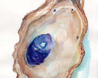 Original Oyster Shell Watercolor Painting  8 x 10 oyster watercolor, oyster art, oyster painting, watercolor oysters wabi-sabi, not a print