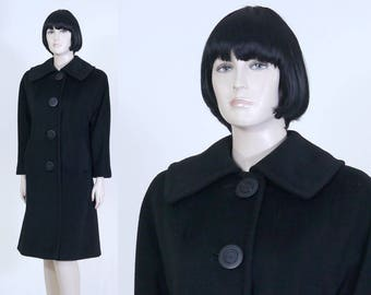 Vintage 1960s Women's Forstmann Black Dress Coat - Bracelet Length Sleeves - Size 10 - Walking Coat - 100% Virgin Wool - Large Buttons