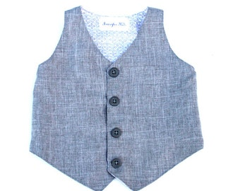 Charles Gray Toddler Formal Wear, Boys Linen Look Vest, Boys Gray Vest, Baby Formal Wear Boy, Page Boy Outfit, Beach Wedding Outfit