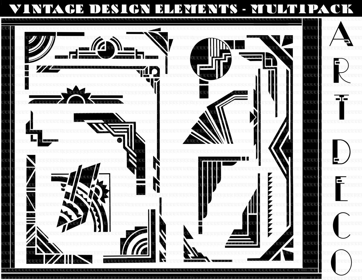 Art Deco Borders. Art Deco Design Elements. Art Deco Clip Art