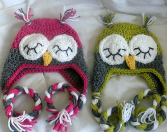 Baby Owl Hat- Sleepy Owl- Grey and Chartreuse  or Gray and Fuschia Sleepy Owl Hat - Size 0 -3 Mos - Ready to Ship