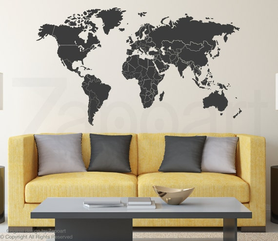 World map wall decal with countries borders sciox Choice Image