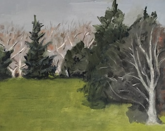 Cedar Hill with Trees at Central Park, NYC Print of Painting