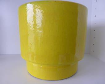 Beautiful XL Otto Ceramic Yellow Flowerpot, West Germany 1960.