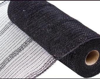 "10.5""X10yd Wide Tinsel Foil Black Deco Mesh/Wreath Supplies/RY840102"
